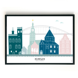 Poster Nijmegen in kleur - liggend