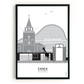 Poster Emmen  zwart-wit-grijs