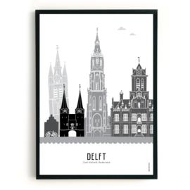 Poster Delft zwart-wit-grijs