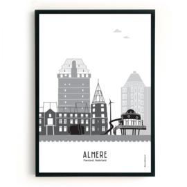 Poster Almere zwart-wit-grijs