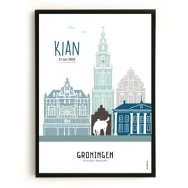 Geboorteposter Groningen - Kian