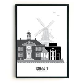 Poster Dokkum zwart-wit-grijs