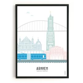 Poster Arnhem + Trolleybus in kleur