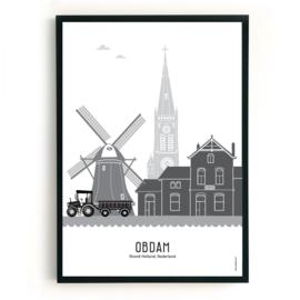 Poster Obdam zwart-wit-grijs