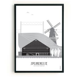 Poster Spijkenisse zwart-wit-grijs