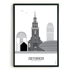 Poster Zoetermeer zwart-wit-grijs