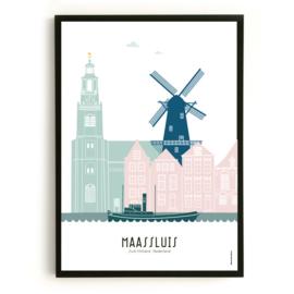 Poster Maassluis  in kleur