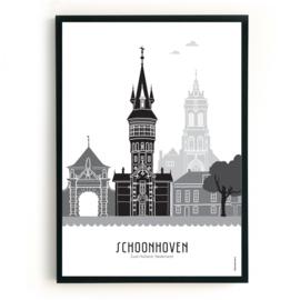 Poster Schoonhoven zwart-wit-grijs