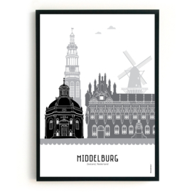 Poster Middelburg zwart-wit-grijs