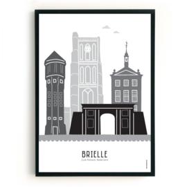 Poster Brielle zwart-wit-grijs
