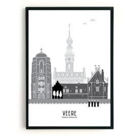 Poster Veere zwart-wit-grijs