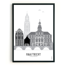 Poster Maastricht zwart-wit-grijs