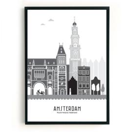 Poster Amsterdam zwart-wit-grijs