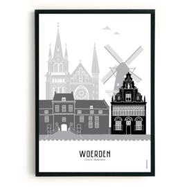 Poster Woerden zwart-wit-grijs