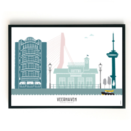 Poster Rotterdam - Veerhaven (liggend) in kleur