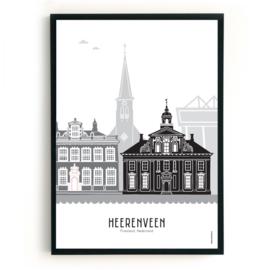 Poster Heerenveen zwart-wit-grijs