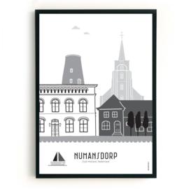 Poster Numansdorp zwart-wit-grijs