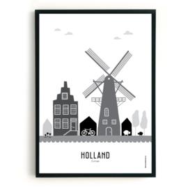 Poster Holland zwart-wit-grijs