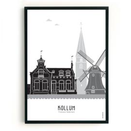 Poster Kollum zwart-wit-grijs