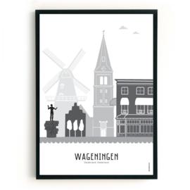Poster Wageningen zwart-wit-grijs