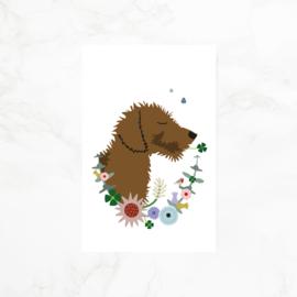 Minikaartje | Gift tag | teckel Frits | Bloemenkrans
