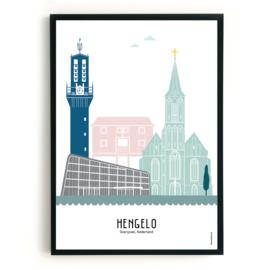 Poster Hengelo  in kleur