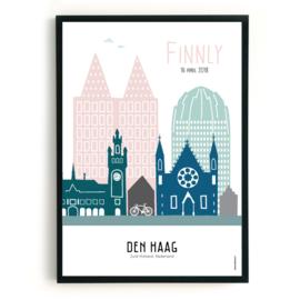 Geboorteposter Den Haag - Finnly