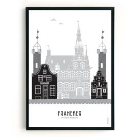 Poster Franeker zwart-wit-grijs