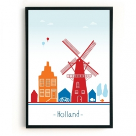 Poster Holland - rood, wit, blauw