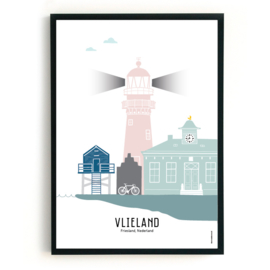 Poster Vlieland in kleur