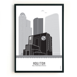 Poster Houston zwart-wit-grijs