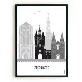 Poster Zierikzee zwart-wit-grijs