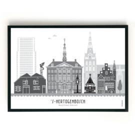 Poster Den Bosch zwart-wit-grijs - liggend