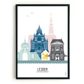 Poster Leiden  in kleur