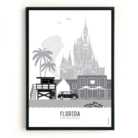 Poster Florida zwart-wit-grijs