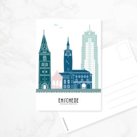 Ansichtkaart Enschede - kleur