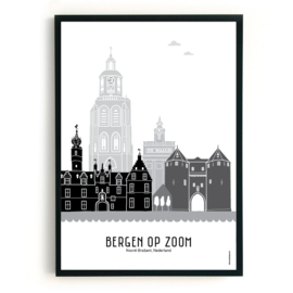 Poster Bergen op Zoom zwart-wit-grijs