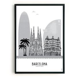 Poster Barcelona zwart-wit-grijs