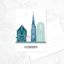 Ansichtkaart Leeuwarden - kleur