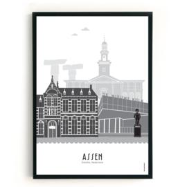 Poster Assen zwart-wit-grijs