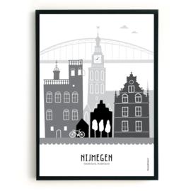 Poster Nijmegen zwart-wit-grijs SALE