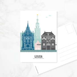 Ansichtkaart Gouda - kleur