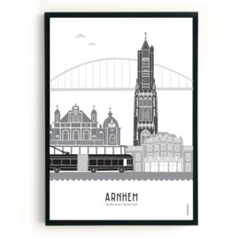 Poster Arnhem + Trolleybus zwart-wit-grijs
