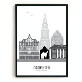 Poster Groningen zwart-wit-grijs
