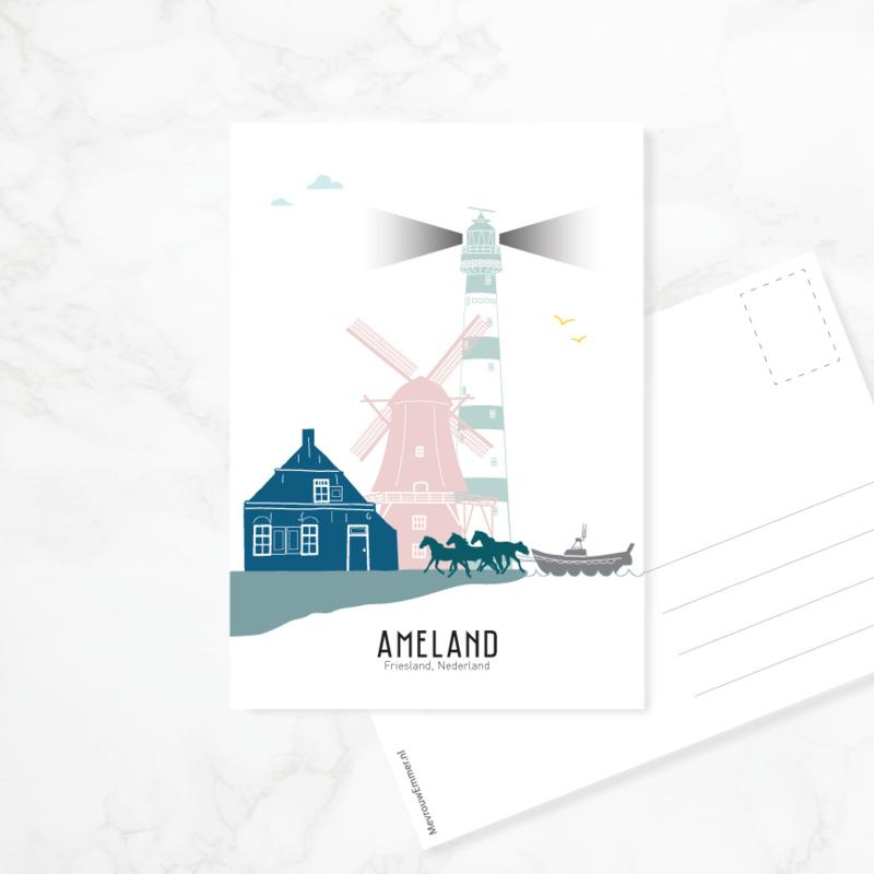 Ansichtkaart Ameland - kleur