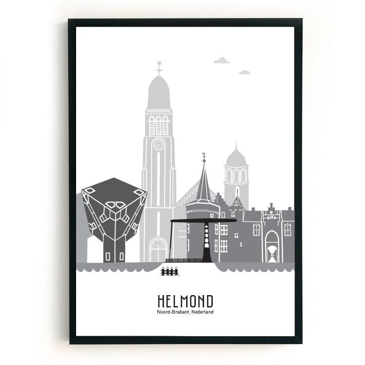 Poster Helmond zwart-wit-grijs