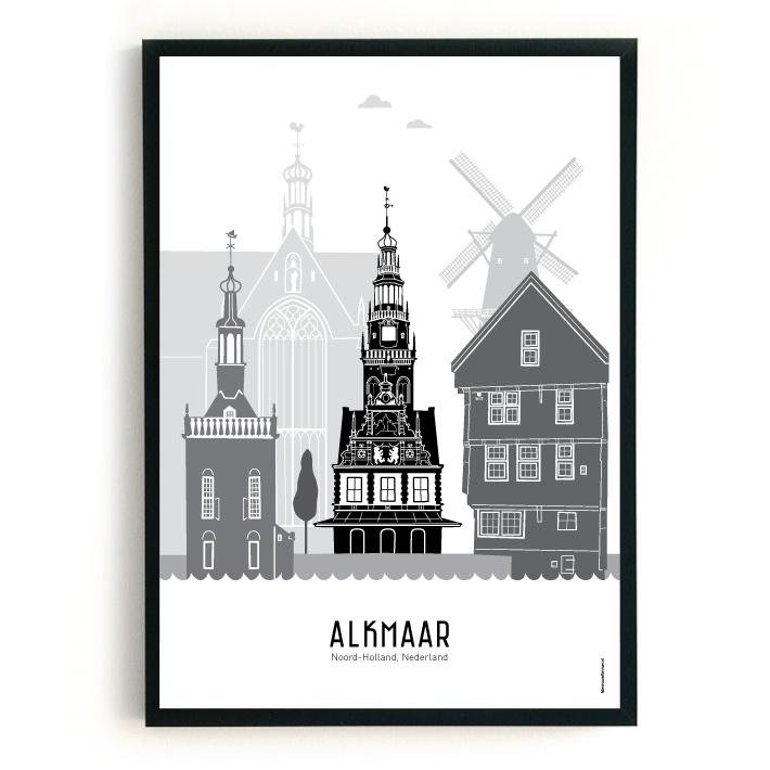 Poster Alkmaar zwart-wit-grijs