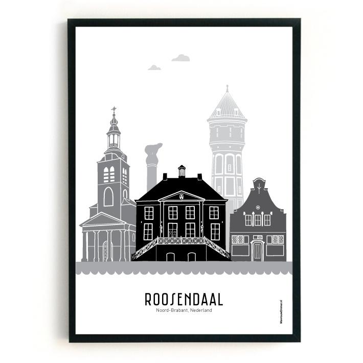 Poster Roosendaal zwart-wit-grijs