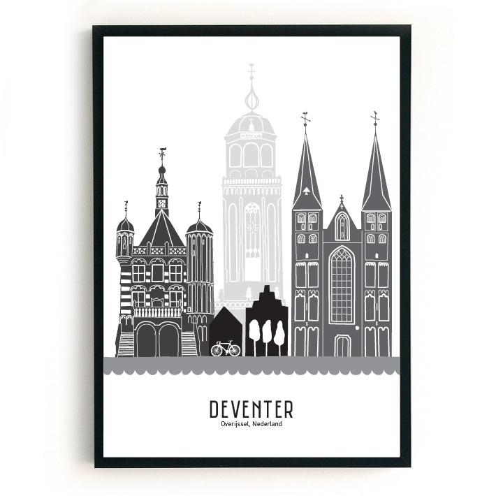 Poster Deventer zwart-wit-grijs