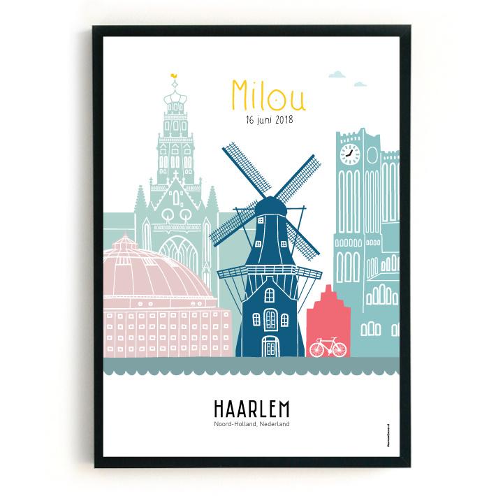 Geboorteposter Haarlem - Milou